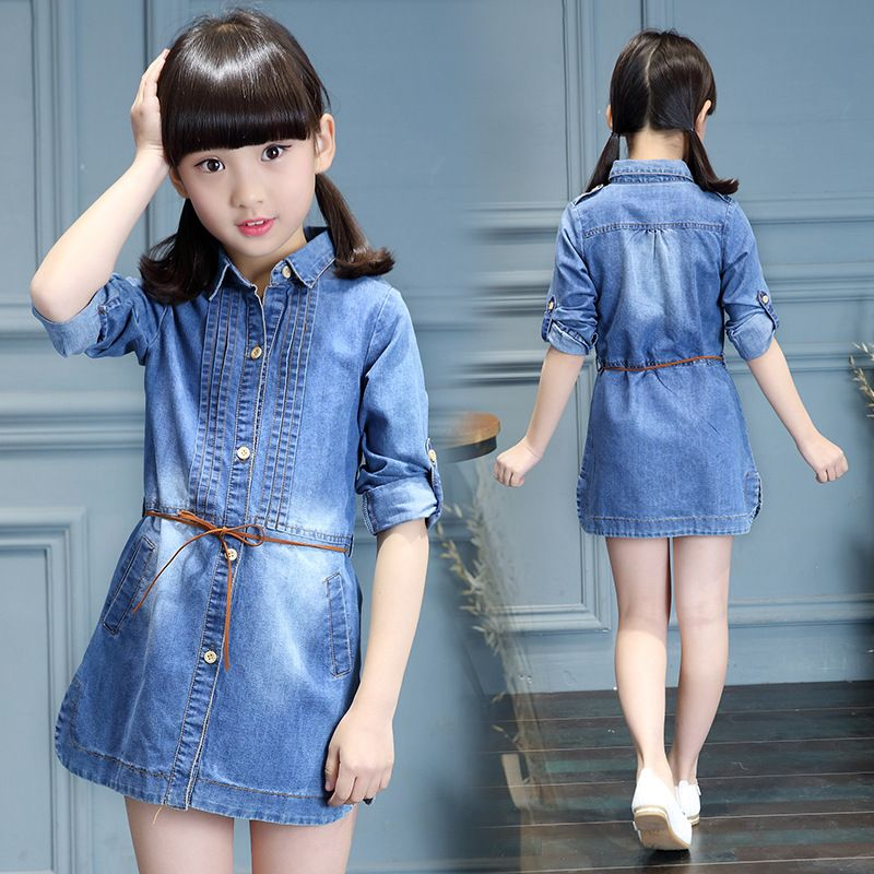 c5782eaa3b19 Nice Trendy Spring Patterns Baby Girl Blue Jeans Dresses Children Clothing  Tshirt Style Kids Denim Girls Dress With Belt
