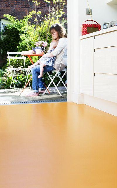 Lighting Basement Washroom Stairs: Vinyl Flooring - Tangerine
