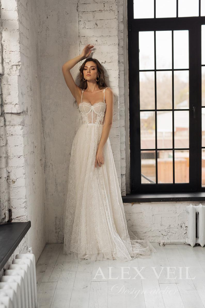 Wedding dress 'KARIN' / Tender lace wedding dress, beautiful sexy corset with straps
