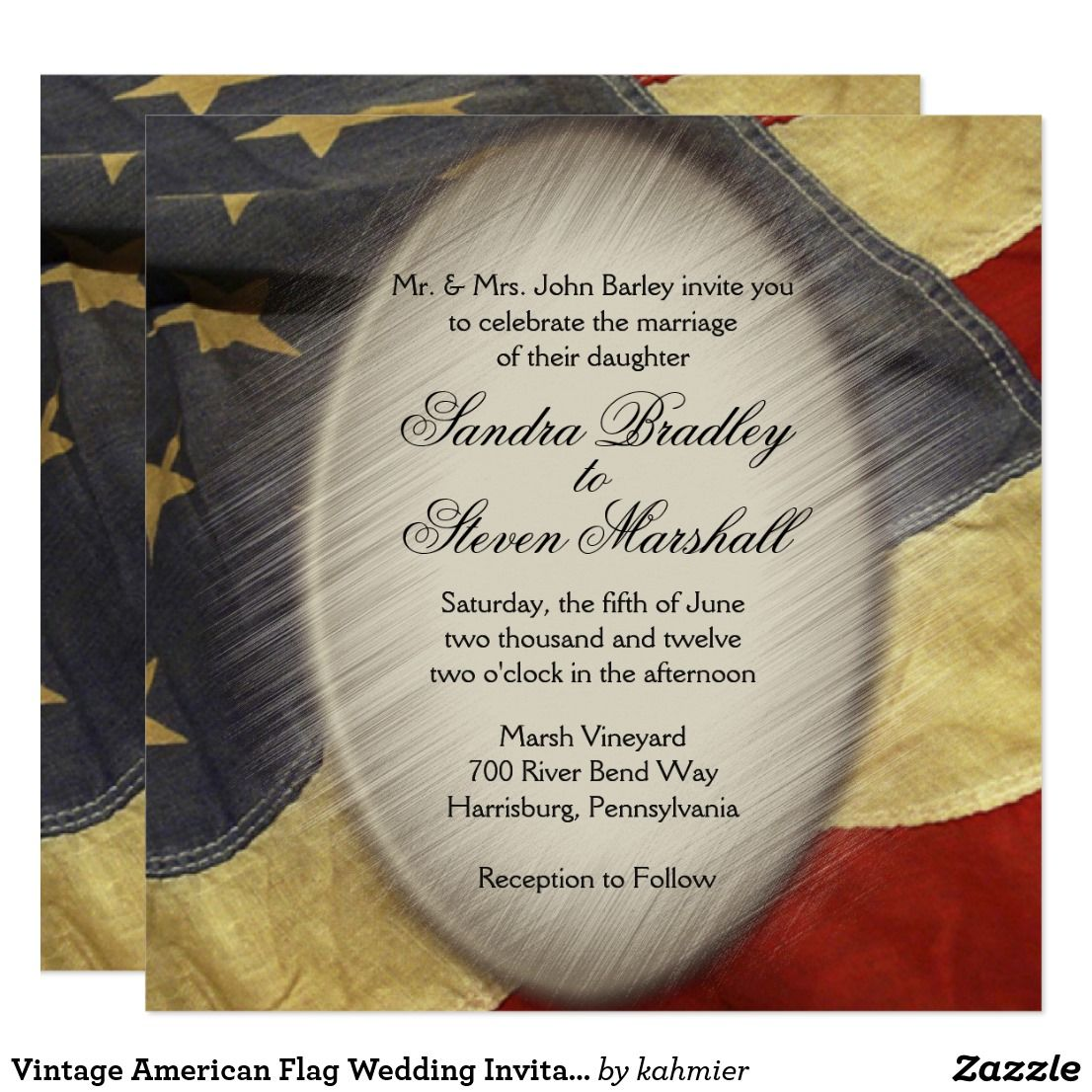 Vintage American Flag Wedding Invitations | ~Zazzle Wedding ...