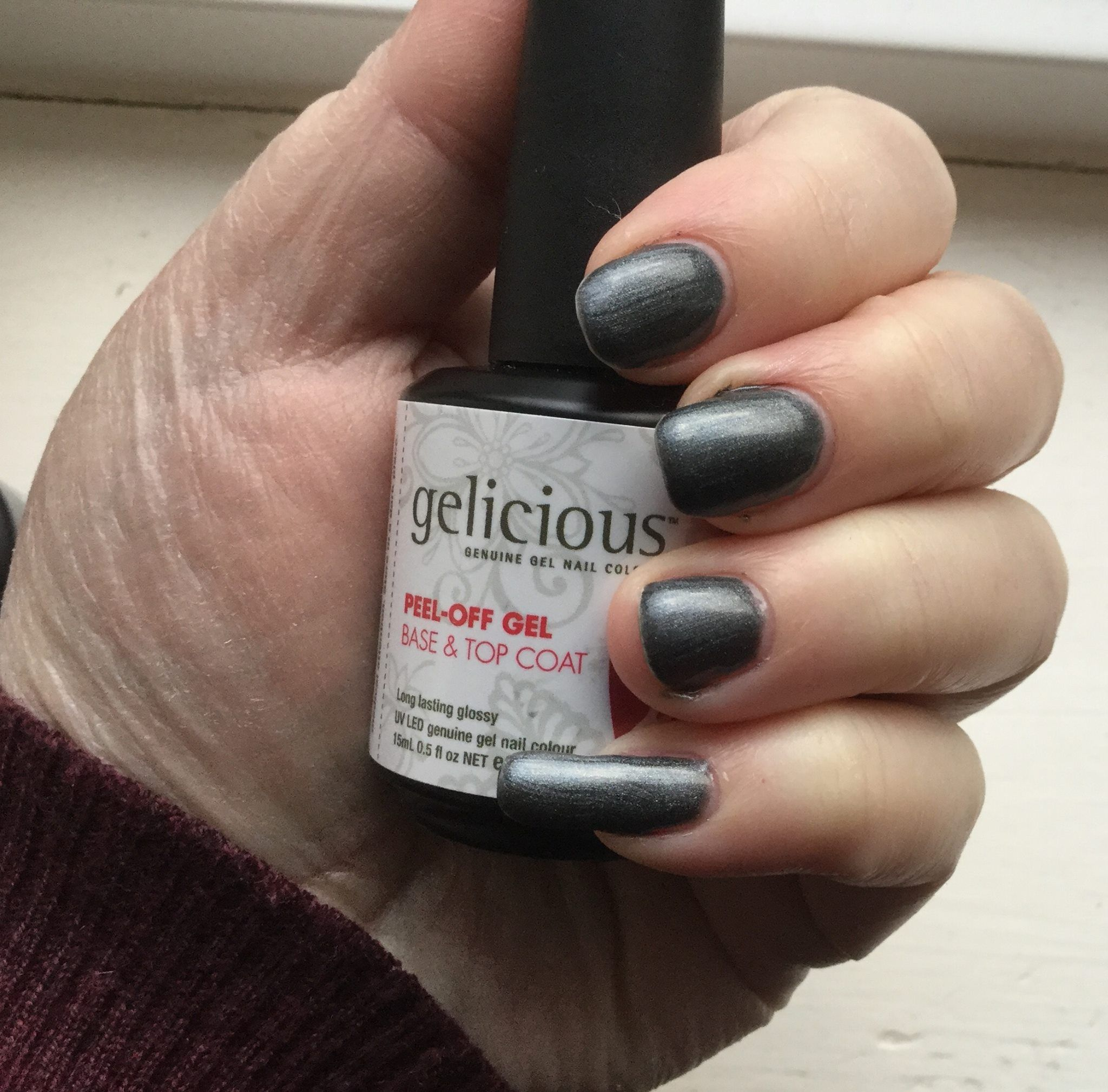 Gelicious Gel Polish in Gun Metal, together with the Peel Off Base ...