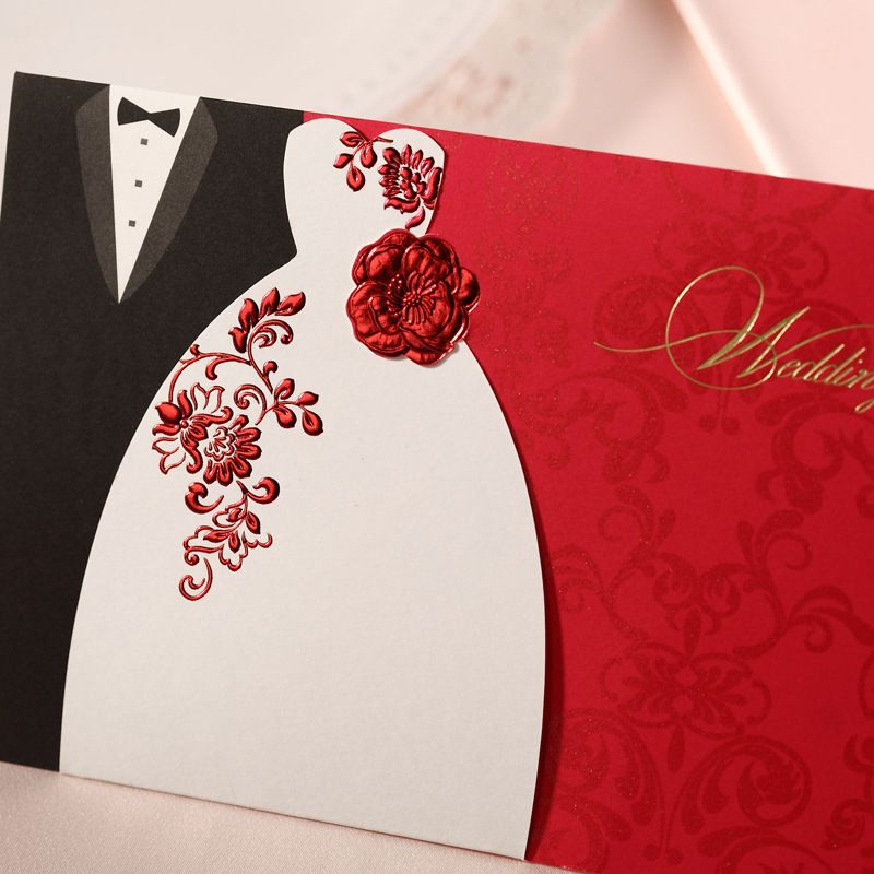 red laser cut wedding invitations with ribbon bow | laser cut, Wedding invitations
