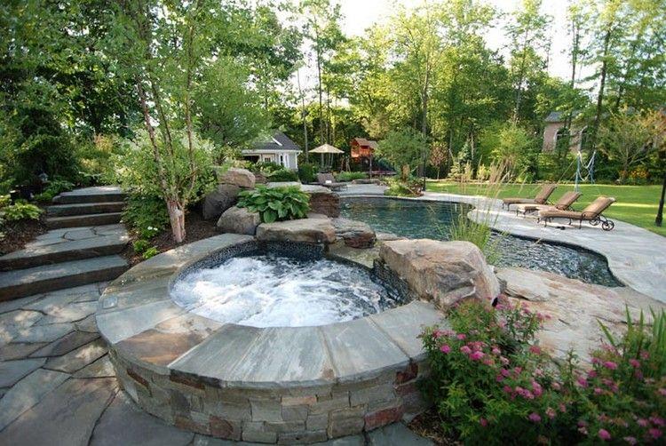 dcoration jardin extrieur jacuzzi en pierre naturelle piscine originale et bains de soleil design - Decoration De Jardin Exterieur