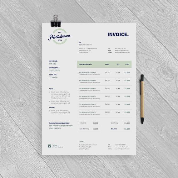 Clean Invoice Template Instant Download - Receipt Template - product receipt template