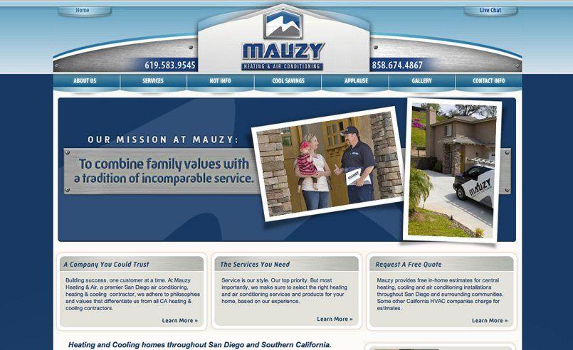 Web Design For An Hvac Company In San Diego California Portfolio Web Design Web Design Contractor Marketing
