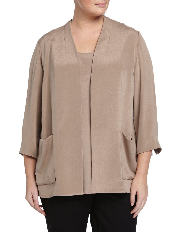 Lafayette 148 New York Plus 3/4-Sleeve Topper Jacket, Hickory, Women's, Size: 1XL