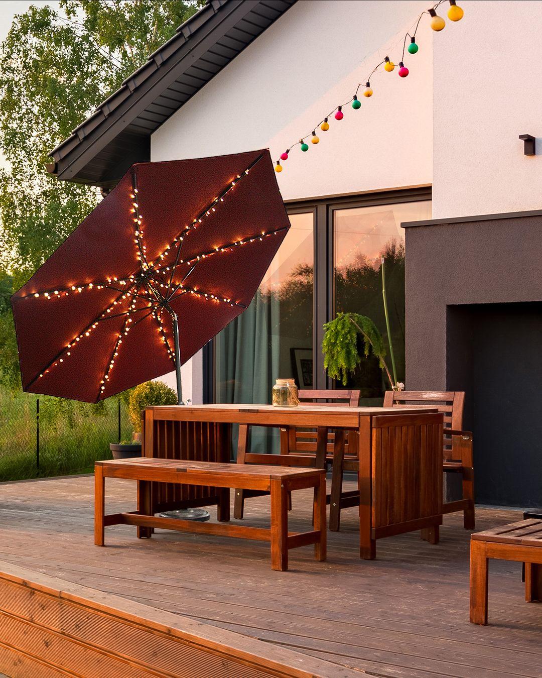 Speziell Zur Beleuchtung Eines Sonnenschirms Entwickelte Lichterkette Mit 8 Abgehenden Led Strangen Die Einzel Lichterkette Sonnenschirm Sonnenschirm Lichter