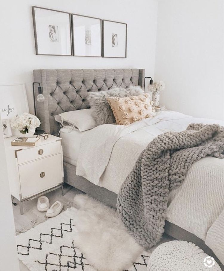 Bedroom Chairs At Next Neutral Bedroom Paint Colors Bedroom Decorating Ideas Wallpaper Bedroom Colors For Young Couples: Chunky Knit Throw, Fabric Headboard, Neutral Decor Palette