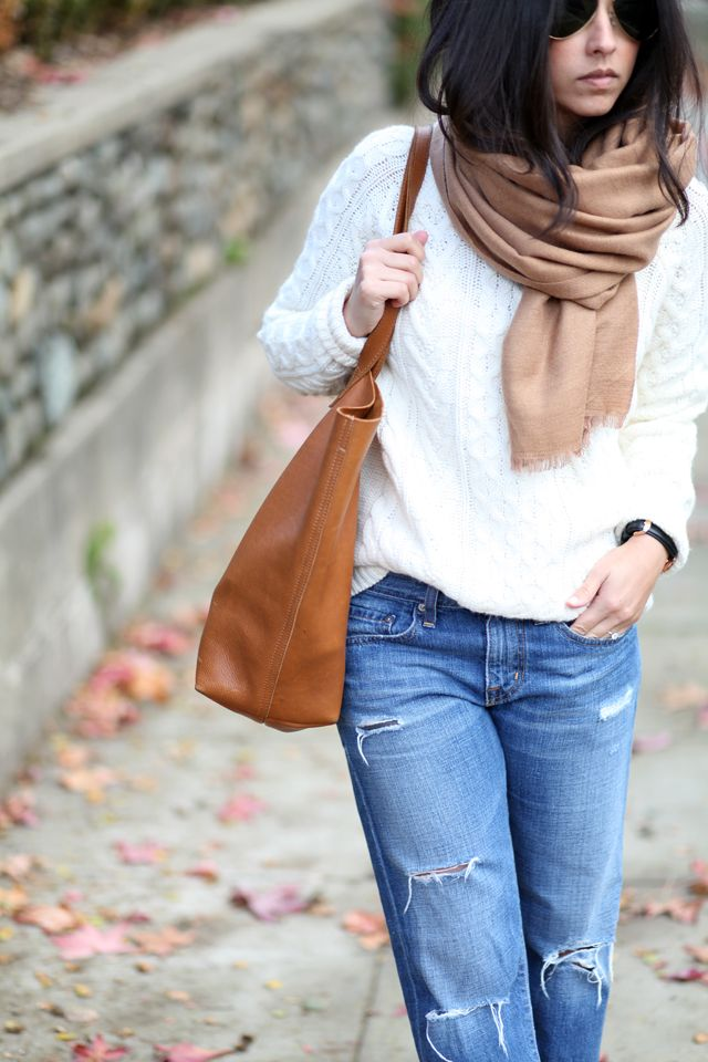 cream cable knit sweater | Fashion | Pinterest | Cable, Leather ...