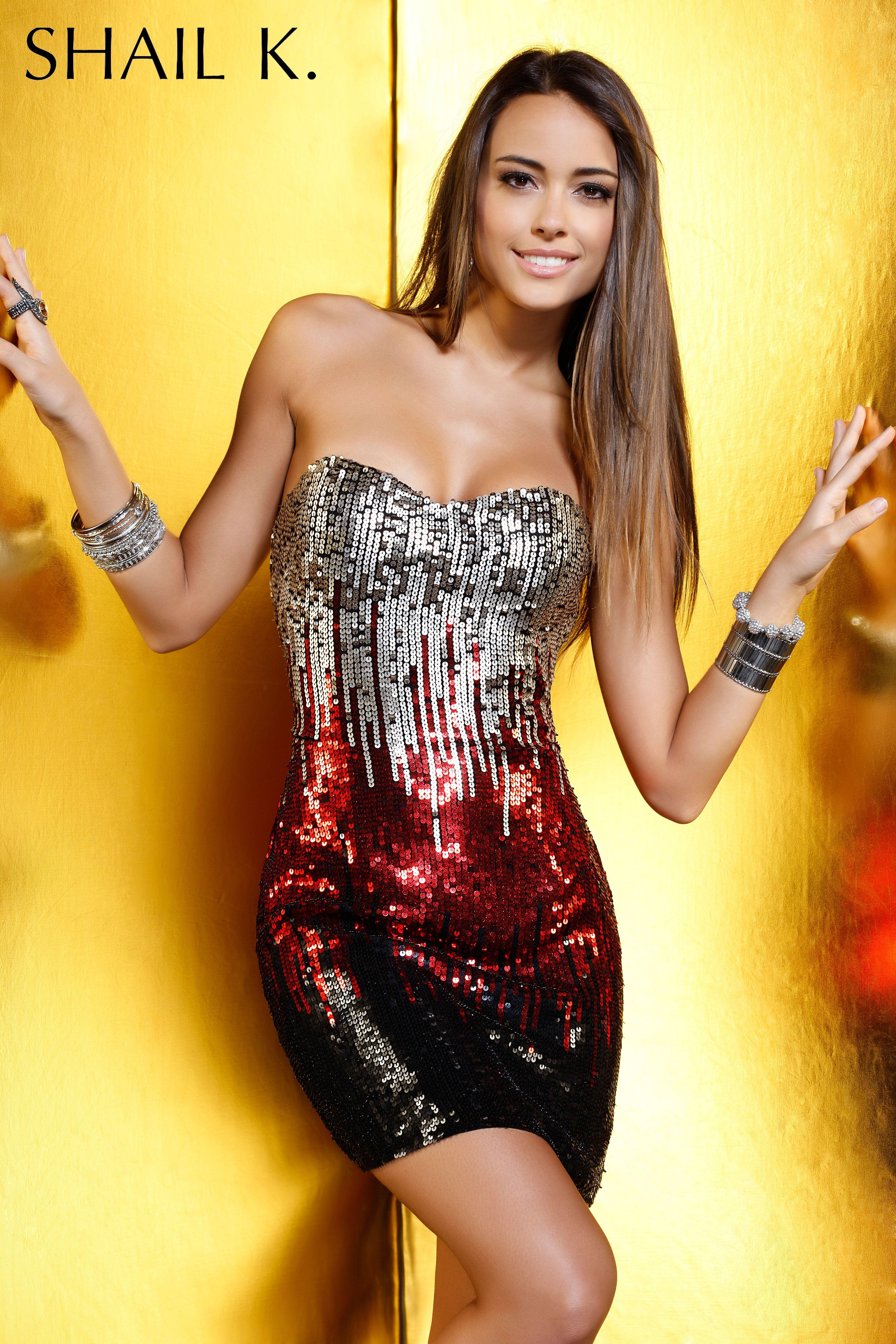 Shail k kk sequined strapless homecoming dress rissyroos
