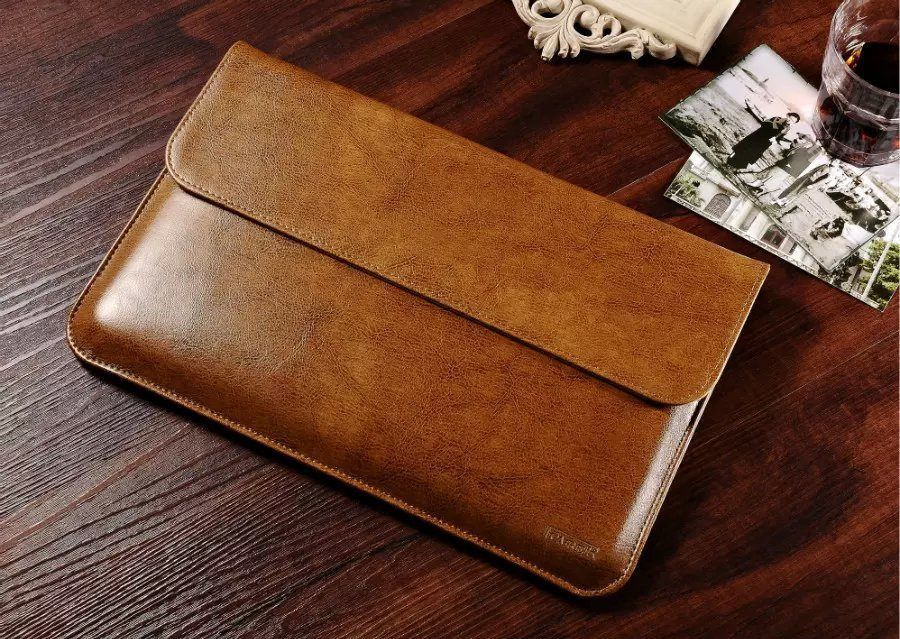 Luxury Genuine Leather Sleeve For Apple Macbook Air 11 13 Laptop Sleeve Pouch Cases For Mac Book 13 3 Inch Business Cover Funda Tas Laptop Macbook Produk