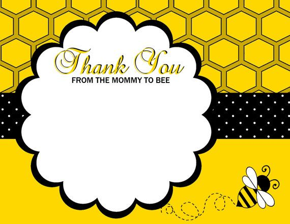 Baby Shower Bumble Bee Thank You Card Baby By Adtrcustomdesigns