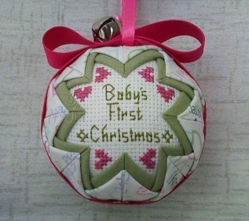 Baby Girl First Christmas Ornament - Loving Words with Green Liner. $14.00, via Etsy.