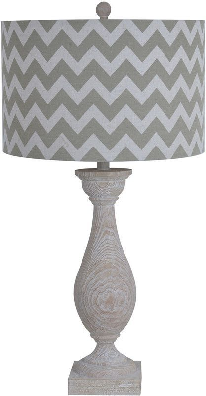"""Chateau Table Lamp 32""""Ht.,Resin Driftwood Finish 16.5 X 16.5 X 10.5 Chevron Linen Shade Features: - Dimension: 16.5 X 16.5 X 10.5 in. - Shipping Weight: 15.87 lbs - Material: Resin - Bulb Type: E26 Tu"""