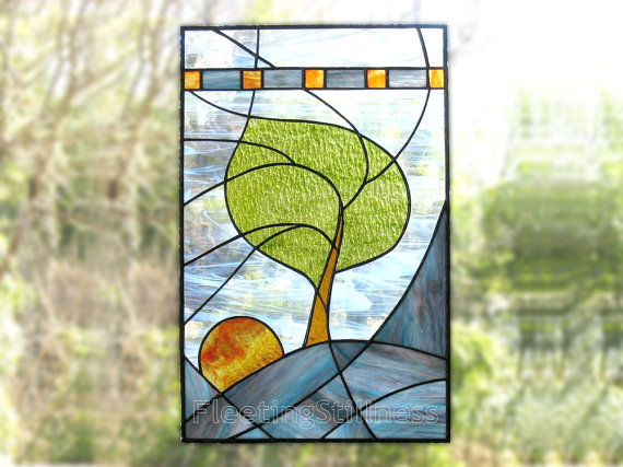 Stained Glass Panel Modern Blue Tree Stained by FleetingStillness