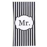 "Beach Towel -  Stripe Black ""Mr"" Print"