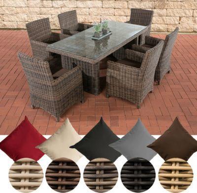 Poly-Rattan Sitzgruppe FONTANA (6 Stühle + Tisch 180 x 90 cm), 5 mm - lounge gartenmobel gunstig