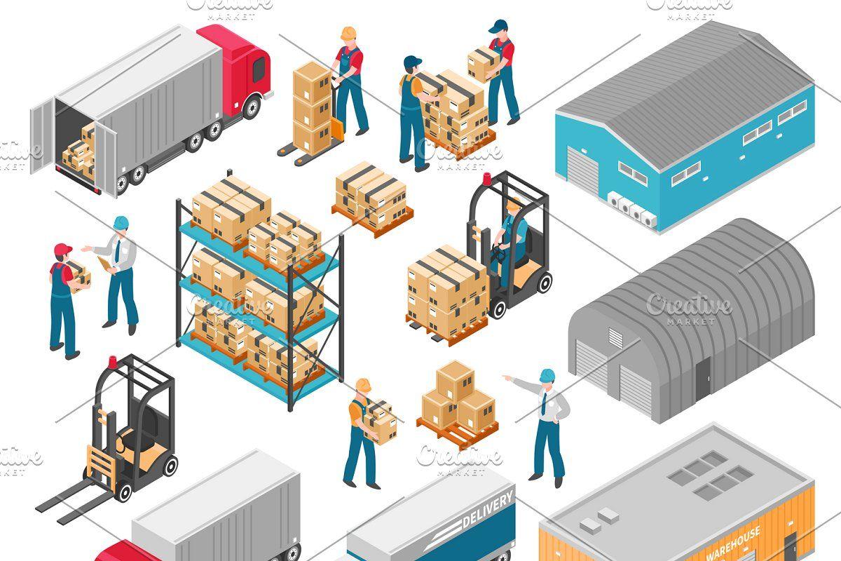 Factory Warehouse Isometric Images Icon Set Graphic Design Illustration Design