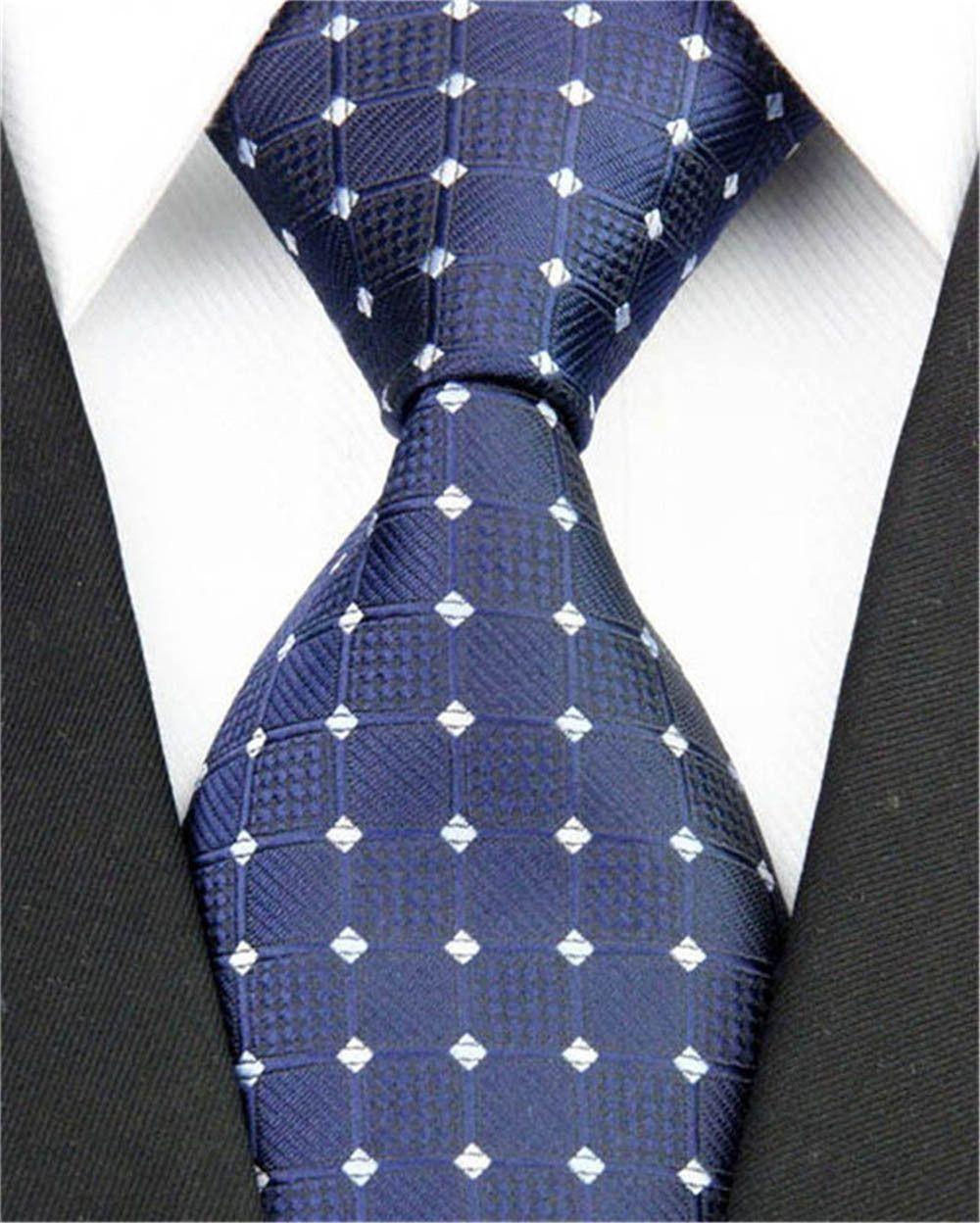 Navy Blue Men Necktie with White Checkered Accents