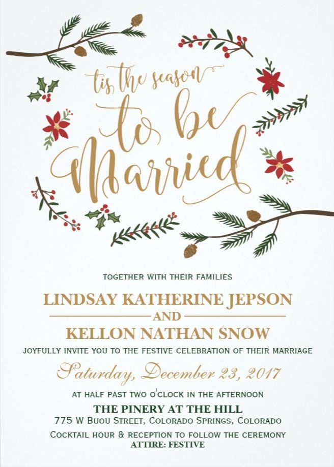 Festive Holiday Christmas Wedding Invitation   Zazzle.com