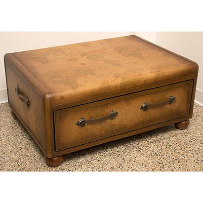 Faux Leather Trunk Coffee Table With Map Design 1