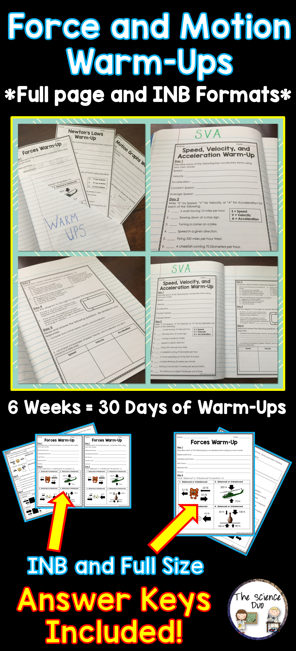 Force And Motion Warm Ups Bell Ringers Science For Secondary