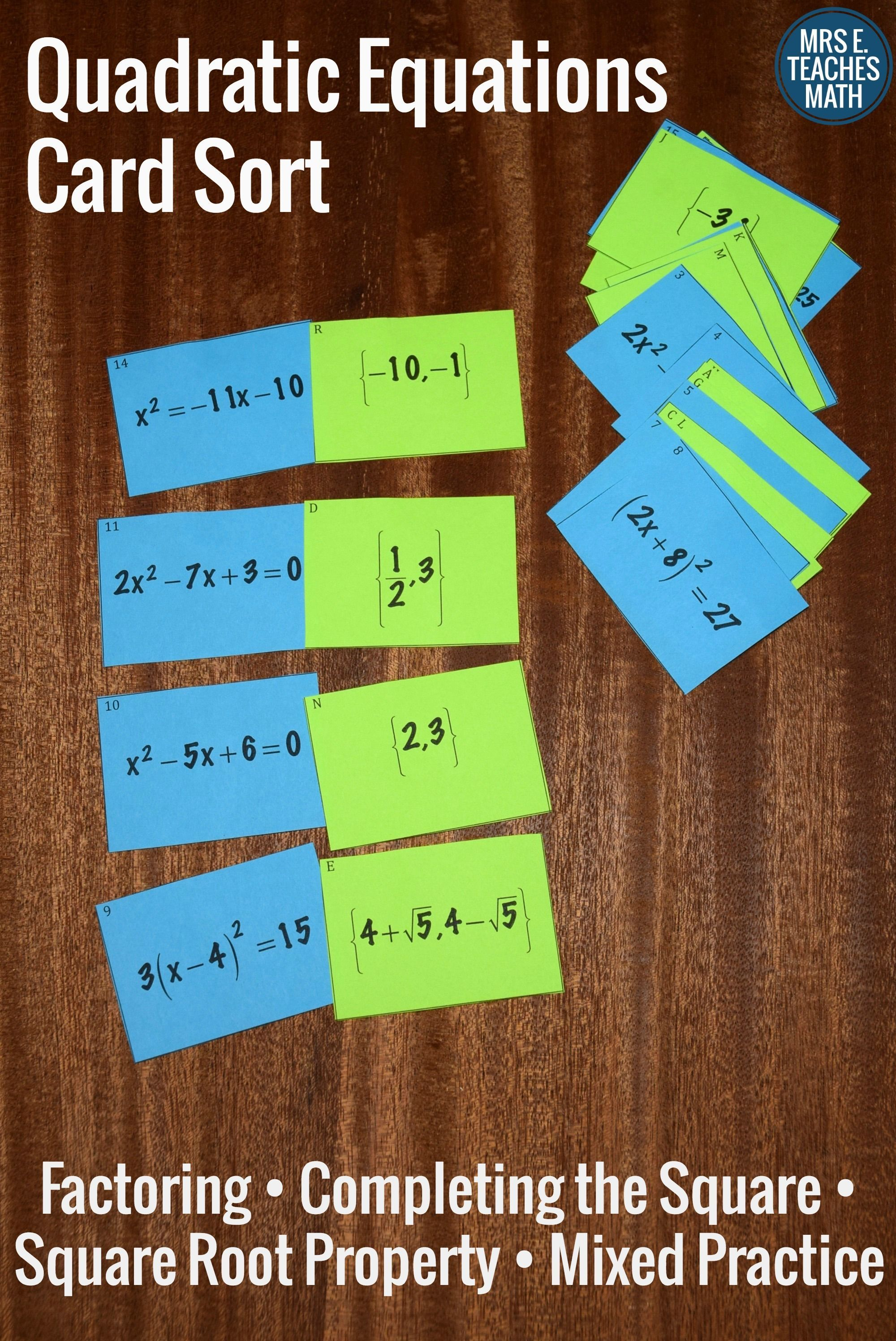 Quadratic Equations Card Sort