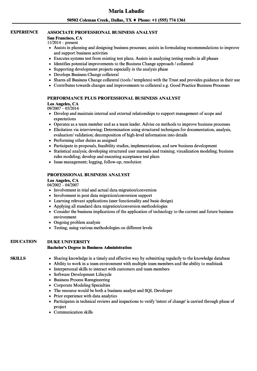Professional Business Analyst Resume Samples Business
