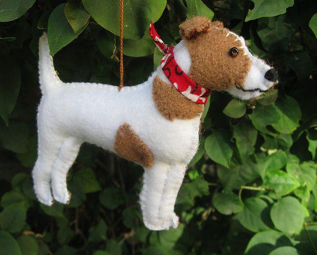 Jack Russell Terrier Ornament Felt Dog Ornament Felt Christmas Ornaments Felt Ornaments