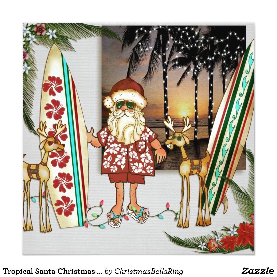 Tropical Santa Christmas Party Invitation Zazzle Com Tropical