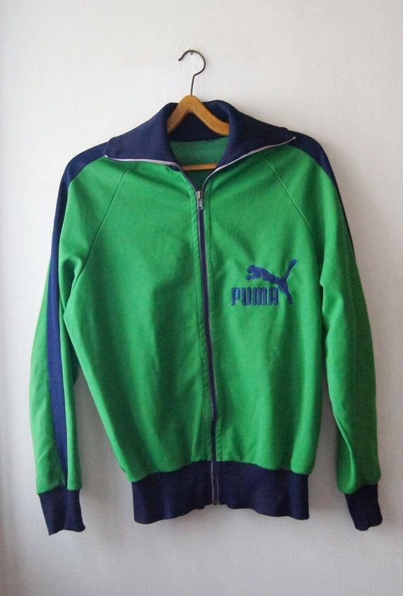 42d0a6a937db1 PUMA Vintage big logo Jumper 60's 70's green blue by DorisVintage ...