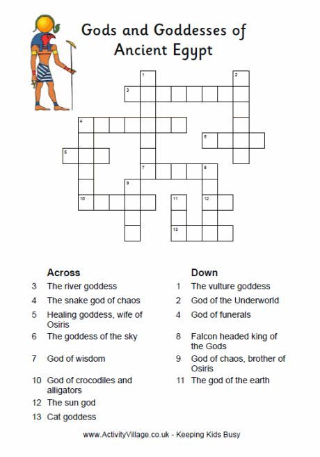 Egyptian gods and goddesses crossword puzzle for kids 6th Grade - blank crossword template