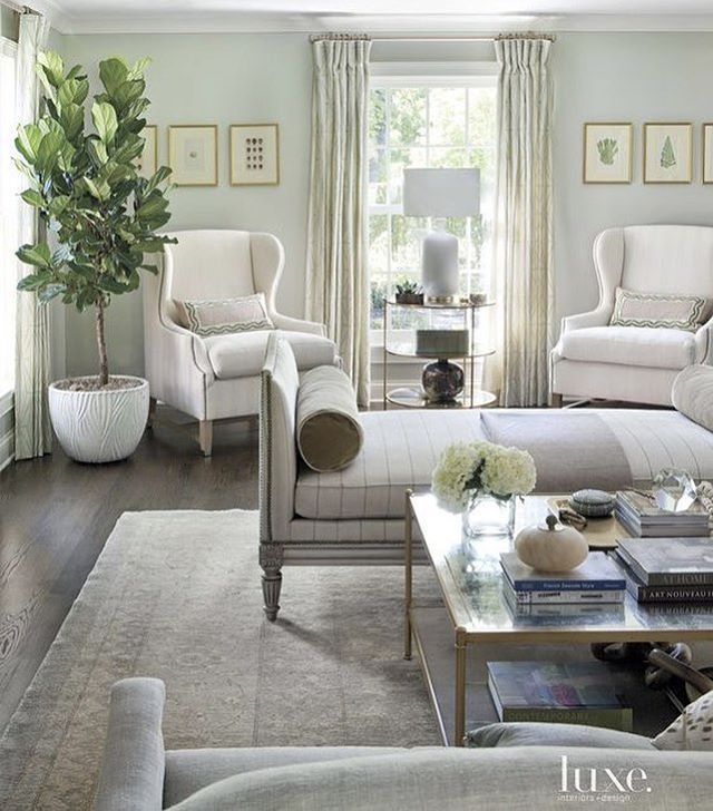 Tranquil Living Room Wingback Armchairs Potted Tree Day Bed Popular Living Room Pale Green Living Room Living Room Green