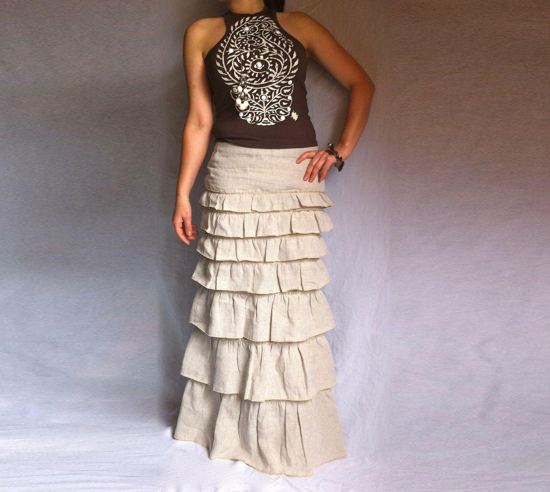Ruffled Ivory Skirt Bohemian Long Skirt Layered Maxi Linen Skirt ...