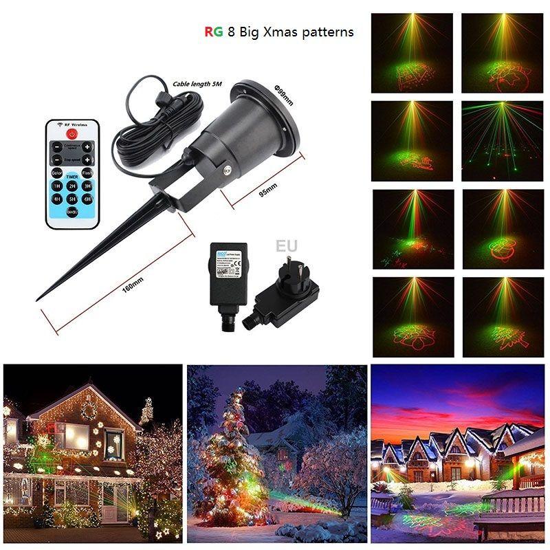 Christmas Outdoor Laser Lights Projector 8 Big Xmas Patterns RG IP65