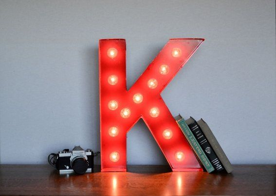 Custom Made Vintage Inspired Marquee Light- Letter K- Color Fire Engine