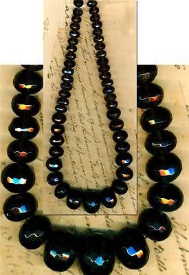 "Smoky Quartz Beads Faceted and Graduated Rondell Beads Lovely 15"" Long Strand 
