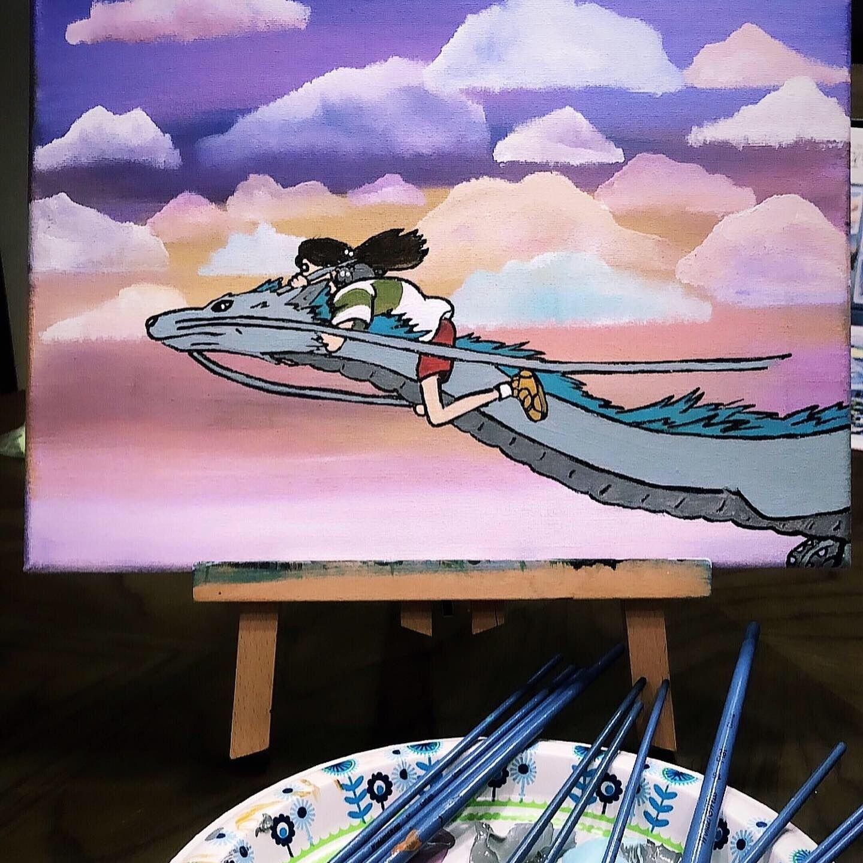 Chihiro And Haku Spirited Away Acrylic Canvas Painting Canvas Painting Small Canvas Art Cute Paintings