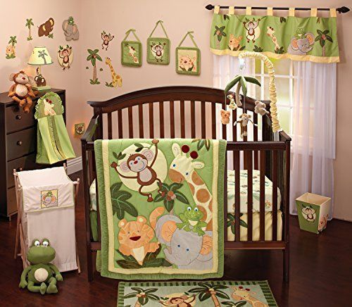 Baby Green Jungle 8 Piece Crib Bedding Set Comforter Nursery Friendly Safari Boy Nojo
