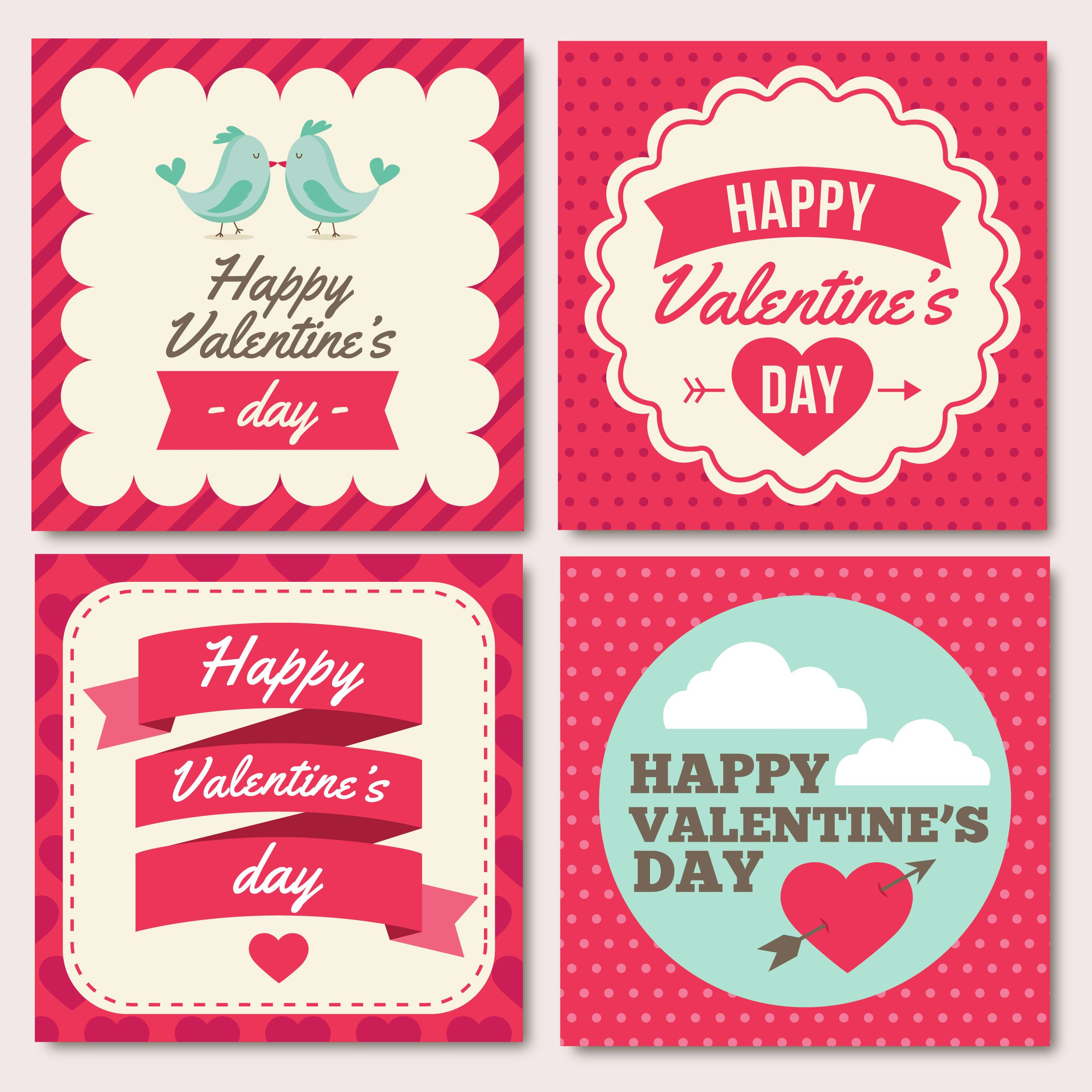 Set of 4 vectors Valentine's day cards clipart with hearts, arrows ...