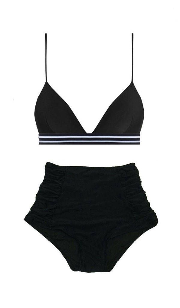71e36298f0 Black Triangle Tri Elastic Top and Ruched High waist waisted Shorts Bottom  swimsuit bikini set sets 2pc bathing suit suits swimwear S M L XL by  venderstore ...