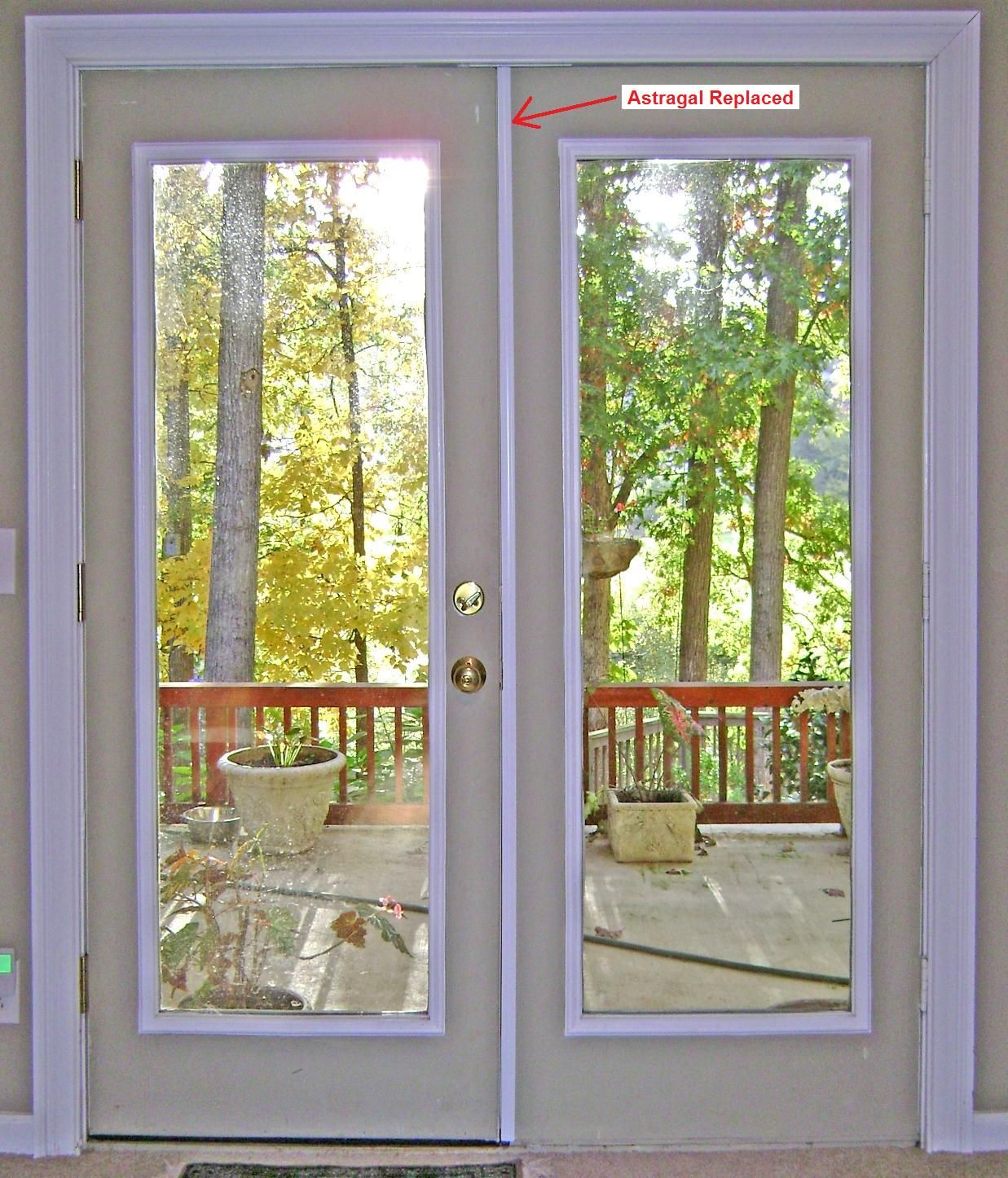 Instructions showing how to replace an exterior French door astragal. The old wood astragal was broken and replaced with an aluminum unit. & Replacing French Door Astragal | DIY | Pinterest | Doors