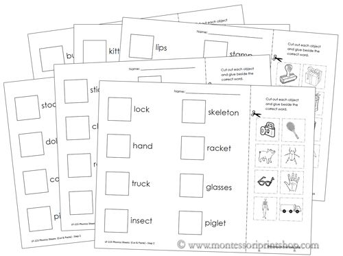 Phonics Sheets Cut Paste Step 2 Preschool Pinterest