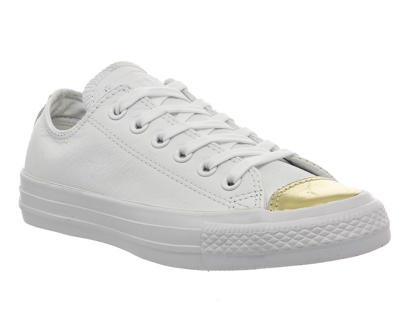 White Mono Chrome Gold Toe Converse All Star Low Leather