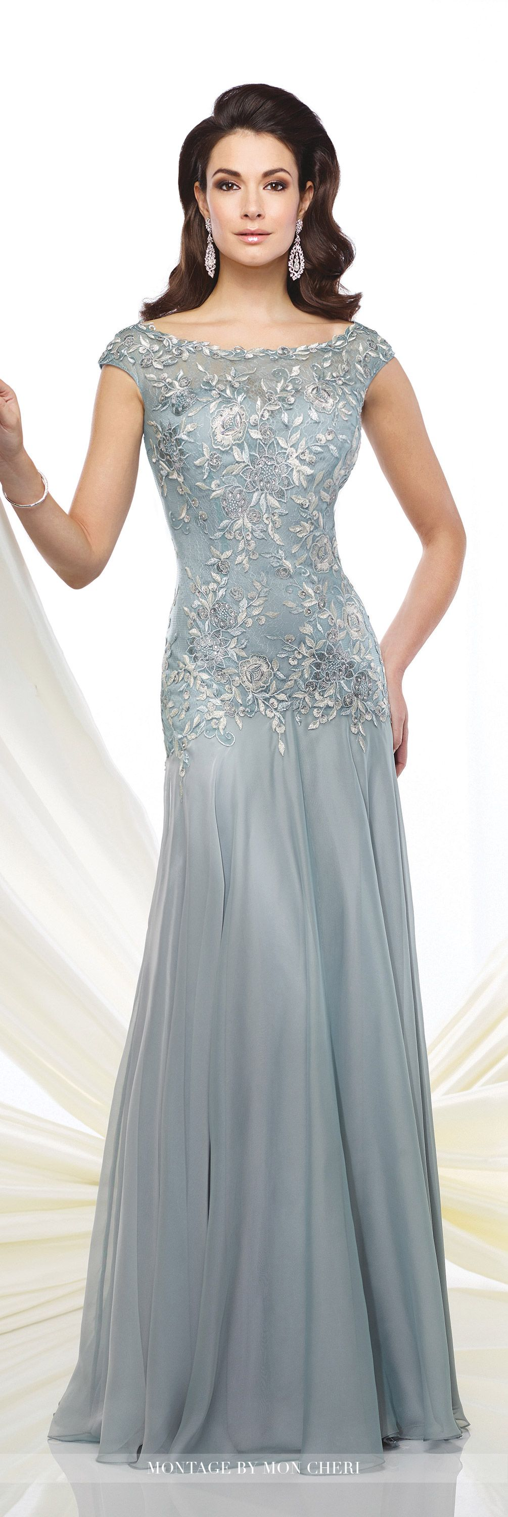 Formal Evening Gowns by Mon Cheri - Fall 2016 - Style No. 216962 - chiffon and lace cap sleeve evening dress