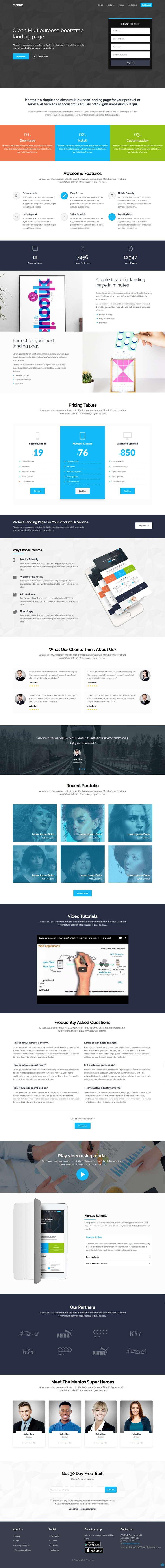 Mentos is a perfect 7 in 1 @bootstrap #landingpage #template for business, corporate, agency, products, services, app #website with amazing features download now➝ https://wrapbootstrap.com/theme/mentos-multipurpose-landing-page-WB004BTR7?ref=datasata