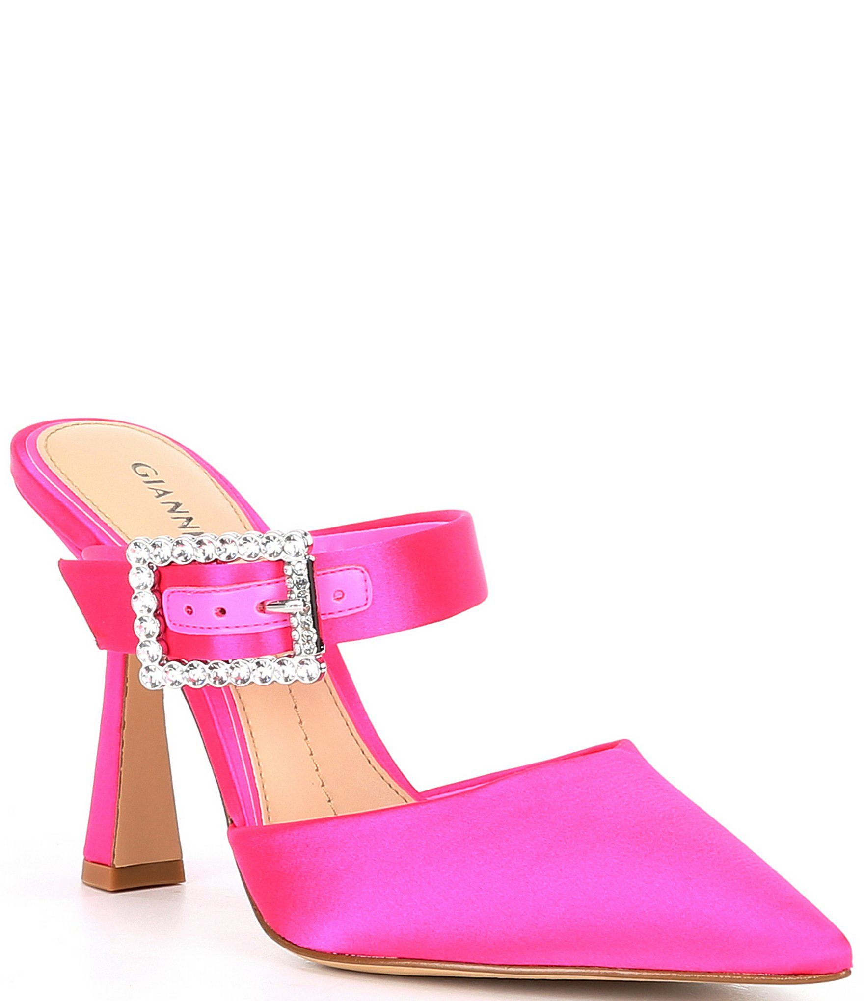 Gianni Bini Maleenah Satin Jeweled Buckle Mules Dillard S In 2020 Women Shoes Womens Heels Shoes Heels Pumps