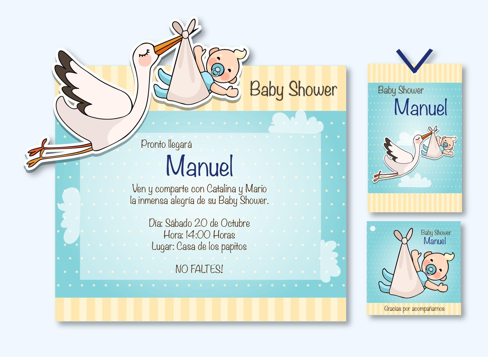 Invitación De Baby Shower Para Niño Mod Bs07 Incluye