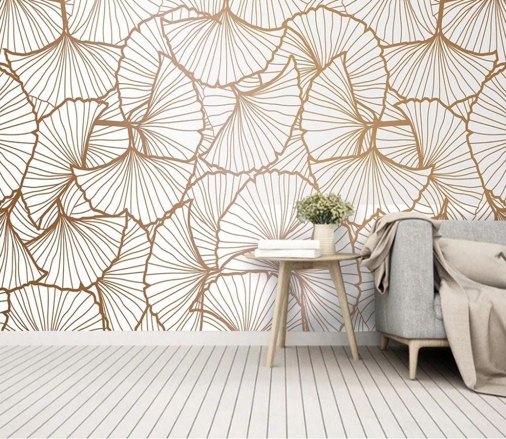 Ginkgo Leaf Wallpaper Mural Bedroom Wallpaper Texture Leaf Wallpaper Wallpaper Living Room