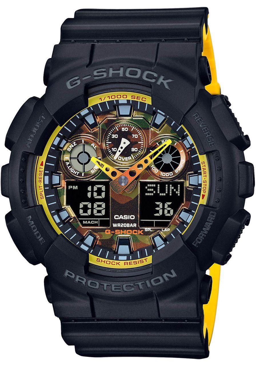 4ab31299baef G-Shock GA100 Black Yellow Camo (GA100BY-1A)
